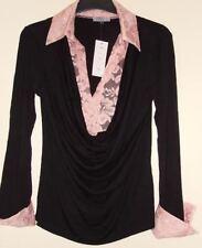 Femmes dentelle Lili N haut en jersey: rose Taille 12