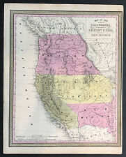 """Map of California, Oregon, Utah, New Mexico"" Mitchell, Cowperthwait 1845"