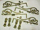 Set 4 Antique DOVERCRAFT Wrought Iron Metal Swing Arm Curtain Rod Brackets Rings