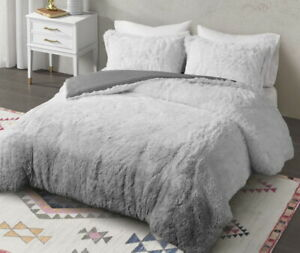 GREY OMBRE SOFT FAUX FUR COMFORTER SET : ULTRA PLUSH GRAY  SHAGGY BEAR HUG
