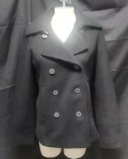 J CREW Womens Double Breasted Black Pea Coat Lined Jacket Size Large