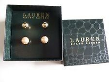 Ralph Lauren Earrings Set Of 2 Gold Plated and Pearl NIB