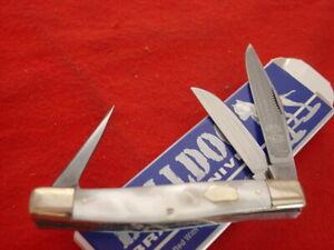"Bulldog Brand Germany 4"" handmade double dog head Cracked Ice stockman knife ld"
