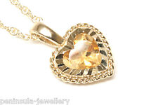 "9ct Gold Citrine Heart Pendant and 18"" Chain Made in UK Gift Boxed"