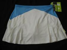 PURE LIME womens Md white malibu geometric pleat tennis athletic skirt skort NEW
