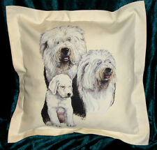 Hand Crafted Old English Sheepdogs cushion cover