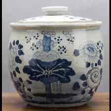"Chinese oriental porcelain GINGER JAR 12"" FLORAL blue & white"