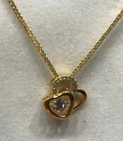 Herz Anhänger mit Halskette 24 Karat vergoldet 925 Sterling Silber Zirkonia Gold