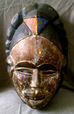 Antique African Tribal Head Wooden Mask Hand Painted Red Blu Rhomb on Forehead