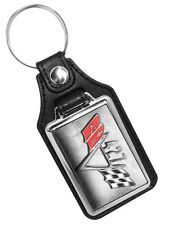 Chevrolet Twin Flags 427 Engine Emblem Faux Leather Key Ring