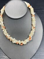 """Vintage Beautiful Faux Mother Of Pearl 3 Strand Woven Coral Beaded Necklace 16"""""""