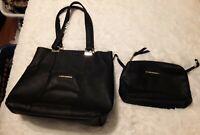 Steve Madden Black faux Leather Purse/Tote Shoulder Bag floral handbag gold