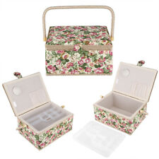 Modern Fabric Floral Printed Sewing Basket Craft Box Household Sundry Storage