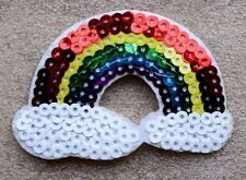 Sequined Rainbow Patch Iron On Applique Badge Motif Sequin LGBT