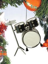 "BLACK DRUM SET w/ HI-HATS 3.5"" MUSICAL INSTRUMENT CHRISTMAS ORNAMENT GIFT BOXED"