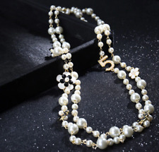 NEW Long Pearl Beaded Embellished With Enamel Flowers Number 5 Chain  Necklace