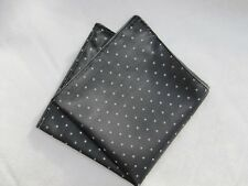 Mens Grey & White Pin Dot Silk Satin Pocket Square/Handkerchief/Hankie/Kerchief