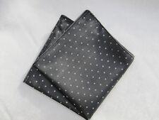 Mens Grey & White Pin Dot Silk Satin Pocket Square/Handkerchief/Hankie/Kerchief