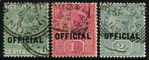 SG O3-O5 JAMAICA 1890-91 OFFICIAL SET - USED