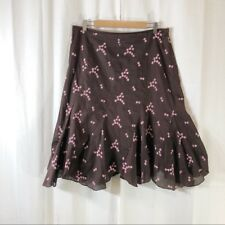 Anthropologie Ruth brown embroidered floral skirt 12