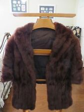 MAHAGANY RED BROWN MINK FUR COLLAR WRAP STOLE CAPE SHAWL SHRUG BOLERO