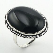 Adjustable ring Ornate 925 sterling silver Elegant Large Black Agate Gemstone