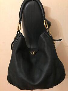 Authentic Prada Zipper Hobo Large black leather shoulder bag