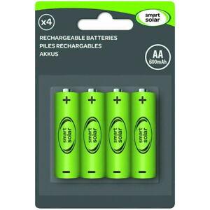 4 x Rechargeable AA Solar Light Batteries 600mAh 1.2V NiMH (Smart Solar)