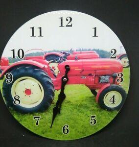 John Deere Tractor Glass Wall Clock 17cm Man cave Garage Shed