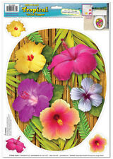 TOILET BOWL SEAT DECORATION Tropical Flowers cling bathroom lid decal sticker