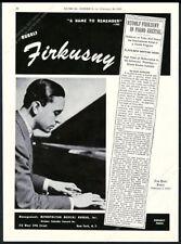 1943 Rudolf Firkusny photo piano recital tour booking trade print ad