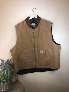 VTG Men's Carhartt Beige Artic Quilt-Lined Sandstone Duck Vest Size 3XL