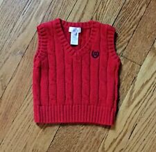 CHAPS INFANT BABY BOY CABLE KNIT V NECK SWEATER VEST IN RED SIZE 3 MONTHS