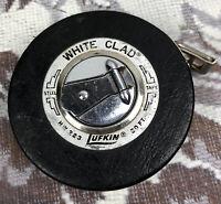 Vintage Lufkin 50 ft White Clad Banner Steel Measuring Tape