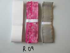 R09 Job Lot 3 Ribbons, Silver Colour, White & Pink