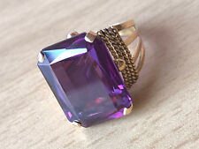 Color Change Purple Sapphire Ring Vintage 18K Yellow Gold Large Synthetic