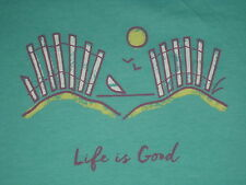 LIFE IS GOOD WOMEN'S S/S DUNE FENCE CREW T-SHIRT SIZE XL
