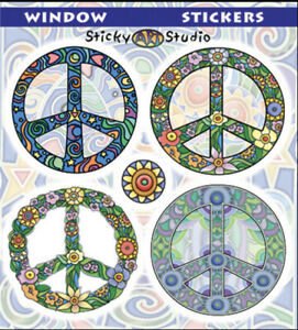 4 FLOWER PEACE SIGN STICKERS/DECAL 2 SIDED 4 SEPARATE STICKERS COSMIC PEACE SIGN