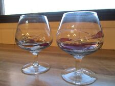 Romanian Bohemia Stained Glass Brandy Snifters (2) Mint