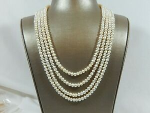 100 INCH NICELY MATCHED ENDLESS FW WHITE PEARL NECKLACE NWOT