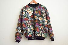 Robert Stock Silk Bomber Jacket, Floral Print Green Red Orange Purple - Size M