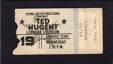 1977 Ted Nugent concert ticket stub Lubbock Texas Cat Scratch Fever