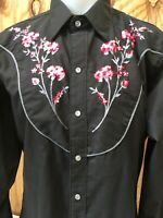 Tru-West Rockmount Ranch Wear Black Embroidered Pearl Snap Western Shirt 16-M