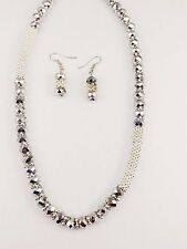 Charm Silver Plated Metal Metallic Silver Faceted Cut Glass Bead  Necklace Set