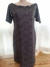 Black Silver metallic off the shoulder stretch party celebration dress 20 NEW