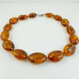 """Vintage Amber Necklace / Choker 16"""" - 52.0 Grams - Silver Clasped"""