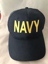 Vintage US USN Navy Snapback Naval Academy Cap Hat Baseball  Blue Yellow