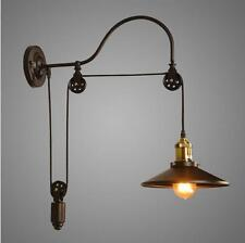 Industrial Wall Mounted Gooseneck Lamp Light Fixture Pulley Reflector Sconce