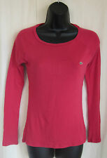 LACOSTE Women's Raspberry Pink Long Sleeve Alligator T-Shirt Size 36 S Small
