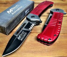 Spring Assisted Pocket Knife with Serrated Blade and Two Tone Handle - RED